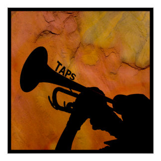 Bugle Playing Taps in the Evening Poster