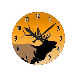 Bugling Elk at Sunset Round Clock