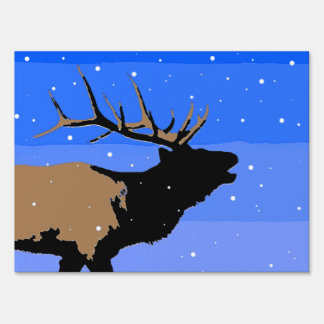Bugling Elk in Winter Lawn Sign