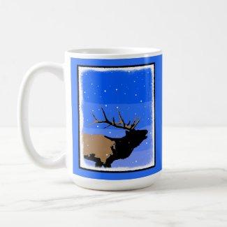 Bugling Elk in Winter  - Original Wildlife Art Coffee Mug