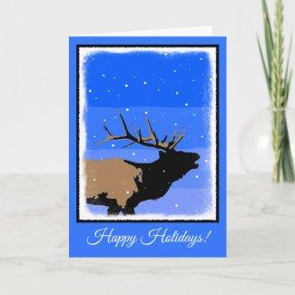 Bugling Elk in Winter  - Original Wildlife Art Holiday Card