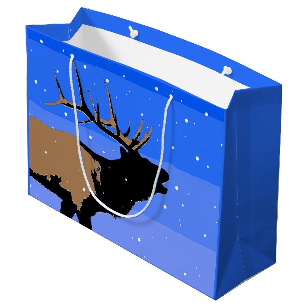 Bugling Elk in Winter  - Original Wildlife Art Large Gift Bag