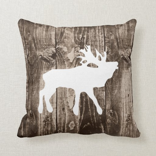 Bugling Elk On Rustic Wood Cabin Throw Pillow Zazzle