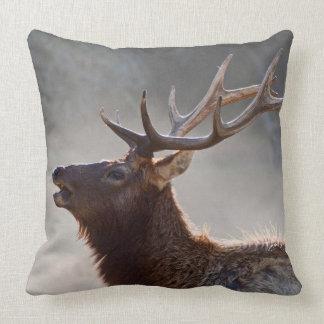 Bugling Rooseveldt Elk in Mist Throw Pillow