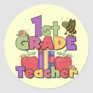 Bugs and Apples 1st Grade Tshirts and Gifts Classic Round Sticker