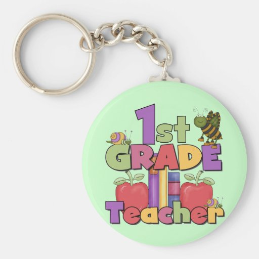Bugs and Apples 1st Grade Tshirts and Gifts Keychain
