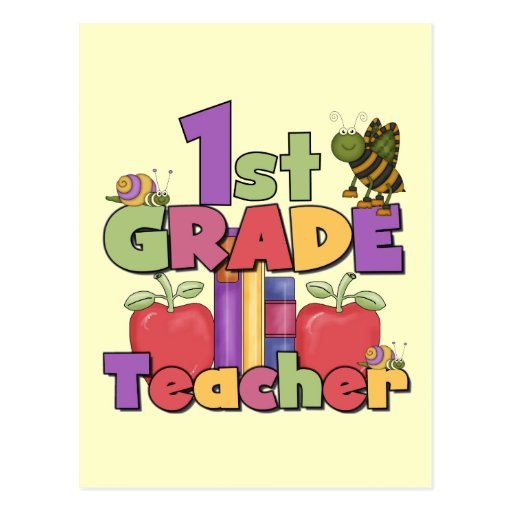Bugs and Apples 1st Grade Tshirts and Gifts Postcard