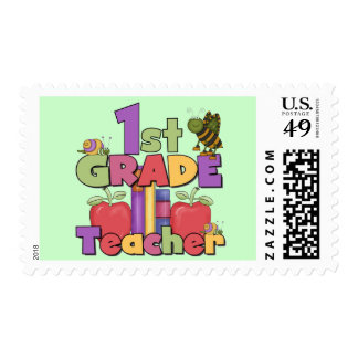 Bugs and Apples 1st Grade Tshirts and Gifts Stamps