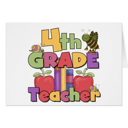 Bugs and Apples 4th Grade Teacher Card