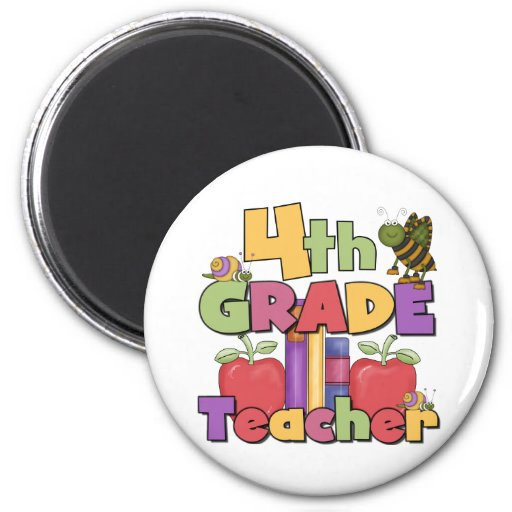 Bugs and Apples 4th Grade Teacher Refrigerator Magnet