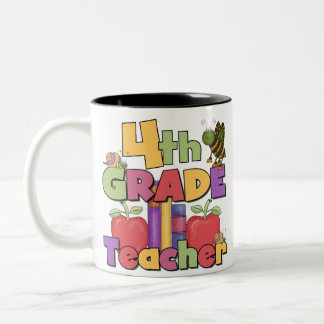 Bugs and Apples 4th Grade Teacher Two-Tone Coffee Mug