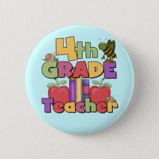 Bugs and Apples 4th Grade Tshirts and Gifts Pinback Button