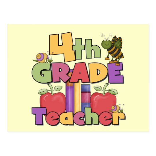 Bugs and Apples 4th Grade Tshirts and Gifts Postcard