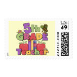 Bugs and Apples 5th Grade Teacher Postage Stamps