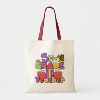 Bugs and Apples 5th Grade Teacher Tote Bag