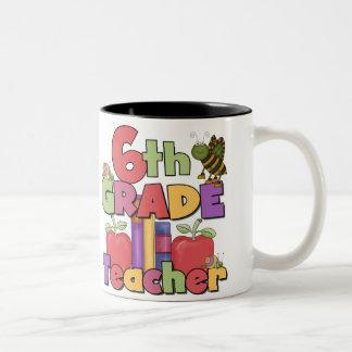 Bugs and Apples 6th Grade Teacher Two-Tone Coffee Mug