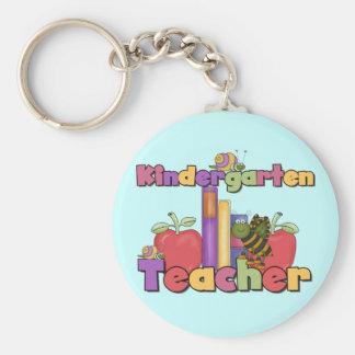 Bugs and Apples Kindergarten Teacher Basic Round Button Keychain