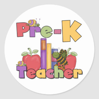 Bugs and Apples Pre-K Teacher Classic Round Sticker
