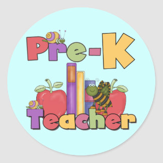 Bugs and Apples Pre-K Teacher Tshirts and Gifts Classic Round Sticker