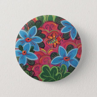Bugs and Flowers Garden Pinback Button