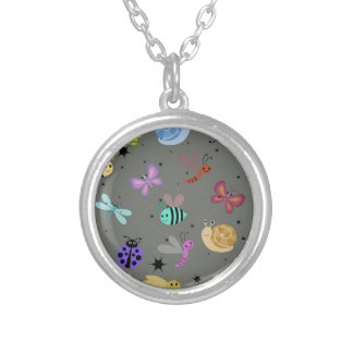 Bugs and insects round pendant necklace
