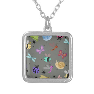 Bugs and insects square pendant necklace