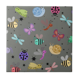 Bugs and insects small square tile