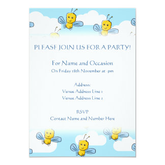 Bugs and Sky Pattern 5x7 Paper Invitation Card