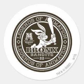 BUGS BUNNY™ Bronx Bomber's Round Logo B/W Classic Round Sticker