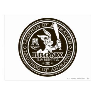BUGS BUNNY™ Bronx Bomber's Round Logo B/W Postcard