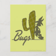 Bugs Bunny Cowboy Leaning on Cactus Postcards