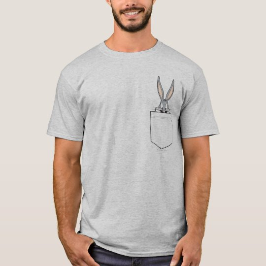 Bugs bunny peeking out of pocket t shirt for Front pocket t shirt design