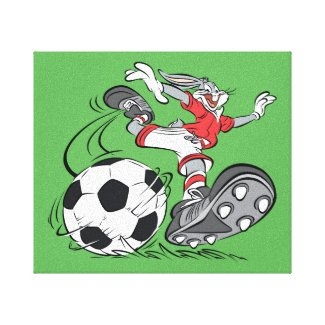 BUGS BUNNY™ Playing Soccer Canvas Print
