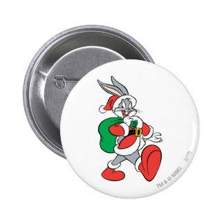 Bugs Bunny Santa que camina feliz Pin