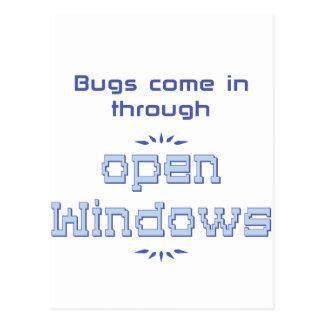 Bugs come in through open windows postcards