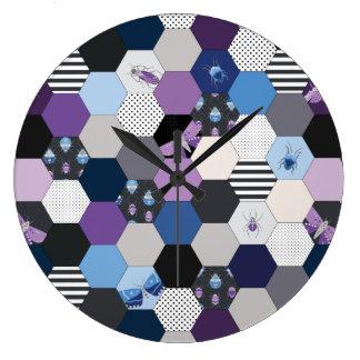 Bugs & Hexagons Large Clock