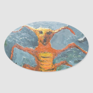 Bugs in Chorus (odd surrealism painting) Oval Sticker