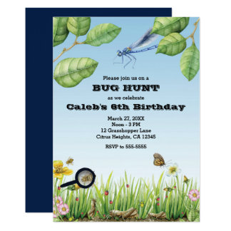 Bugs! Insect Hunt Outdoors Birthday Party Card