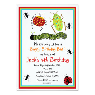 Bugs Insects Ladybugs Ants Birthday Invitations
