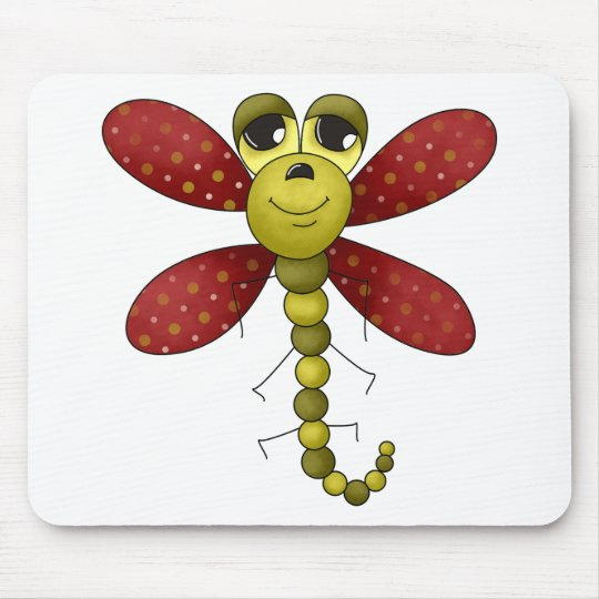 Bugs 'n' Blooms · Red & Green Dragonfly Mouse Pad