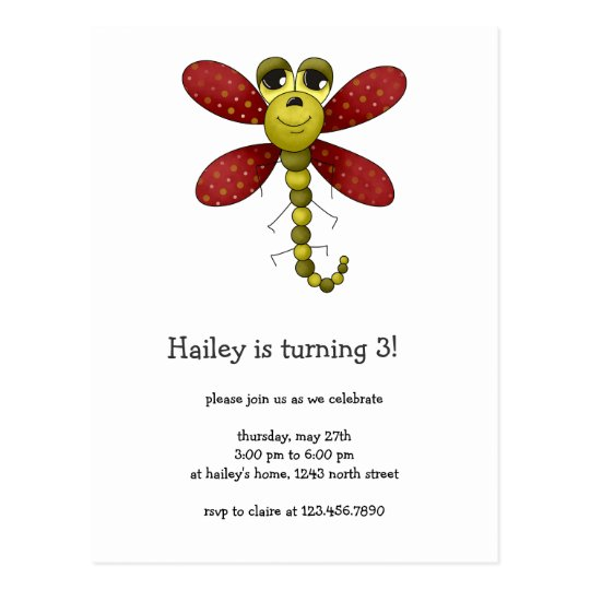 Bugs 'n' Blooms · Red & Green Dragonfly Postcard