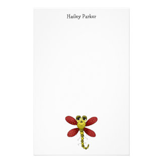 Bugs 'n' Blooms · Red & Green Dragonfly Stationery