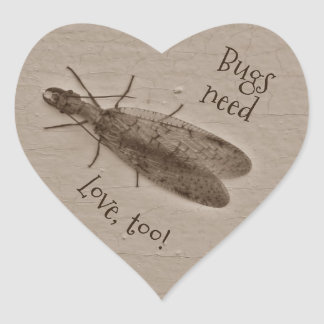 Bugs need love too sepia toned creepy insect heart sticker