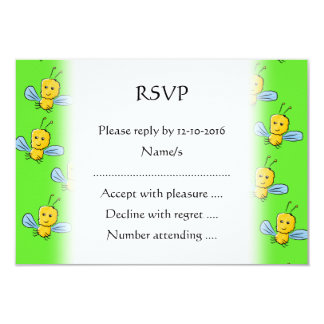 Bugs Pattern Yellow and Bright Green 3.5x5 Paper Invitation Card