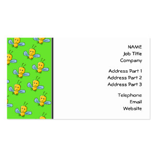 Bugs Pattern Yellow and Bright Green Business Card Templates