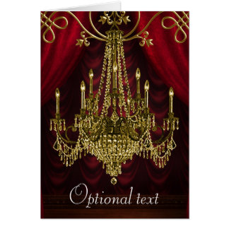 Bugundy Gold Chandlier All Occasion Cards