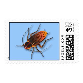 Bugzeez_The Artful Roach on blue postage
