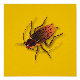Bugzeez_The Artful Roach on goldenrod Poster