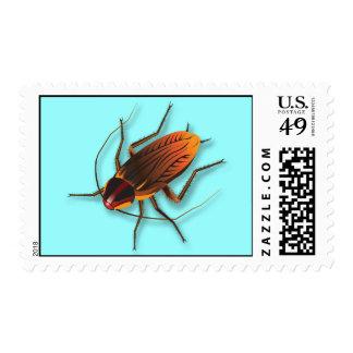 Bugzeez_The Artful Roach on teal postage