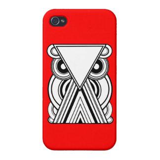 Búho abstracto decorativo (negro, blanco y rojo) iPhone 4/4S funda